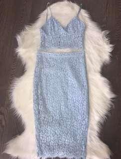 Bardot Blue Lace Crop & Skirt Set