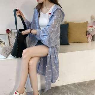 🚚 13衣衫小舗🎀M-4XL韓版中長款連帽格子襯衫女裝A764