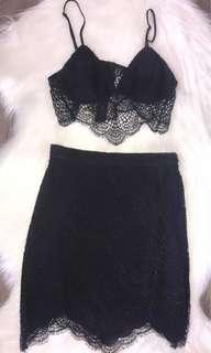 Bardot Black Lace Crop & Skirt Set