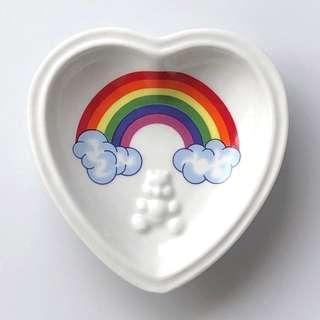 Porcelain Plate Heart Shape Glass Plate Rainbow With Teddy Bear
