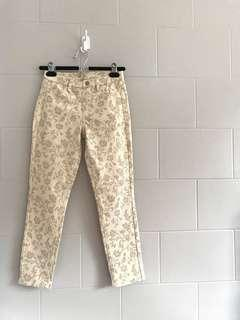 UNIQLO White Printed Stretch Cropped Pants
