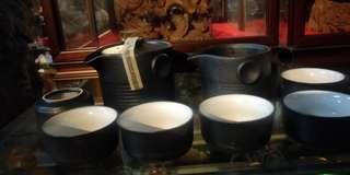 日本茶具組 金剛土 硬 敲了會ㄎㄧㄤ 一壺 六杯 一茶海 清倉庫