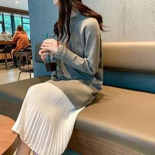 🚚 春款圓領寬鬆薄針織拼接魚尾雪紡紗裙