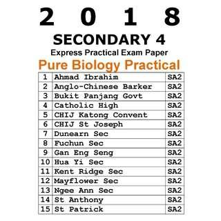 2018 Sec 4 Pure Biology Practical Exam Paper / soft copy / hard copy