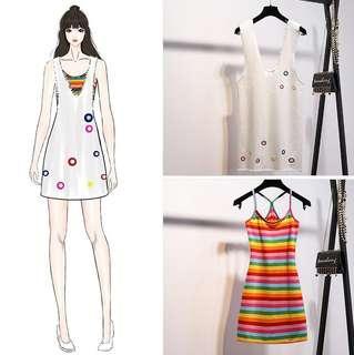 🚚 13衣衫小舗🎀S-2XL彩虹吊帶兩件套連衣裙套裝女裝/A1140