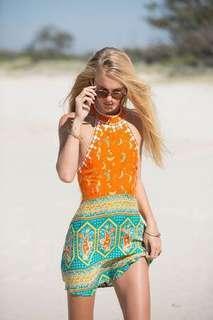 🚚 Arnhem Orange Turquoise Halter Motif Print Embroidery Festival Dress