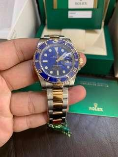 Rolex Submariner 116613LB Blue dial sealed Half gold