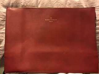 Leather Burgundy Clutch/Documents Bag for A4 Papers