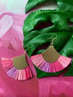 Pink Purple Tassel Earrings