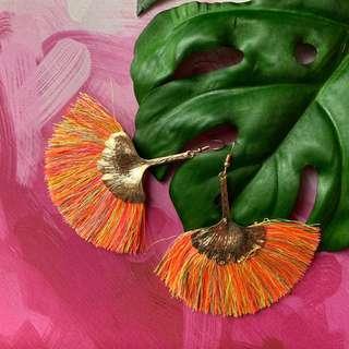 Orange Yellow Tassel Earrings