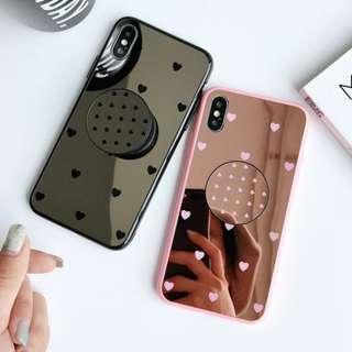 Heart pattern mirror pop socket phone case