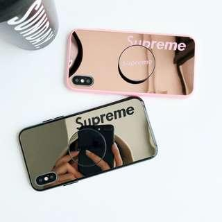Supreme mirror pop socket phone case