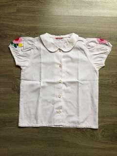 White Shirt Embroidery / Top Anak Perempuan