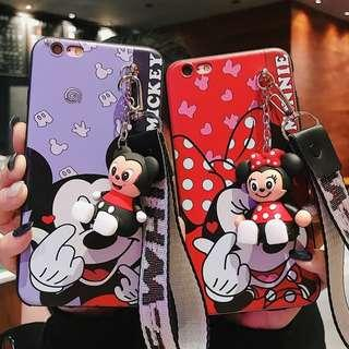 Mickey minnie mouse lanyard figure phone case