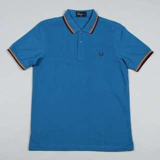 Authentic fred perry polo shirt in enamel blue