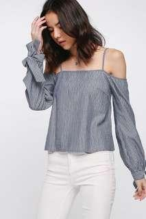 🚚 Love bonito Olavitch Pinstripe Off Shoulder Top