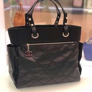 💕Superb Deal!💕 Chanel Large Biarritz Tote in Black Canvas SHW