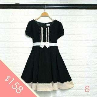 日本LODISPOTTO 細碼 黑色 短袖 連身裙 小禮服