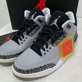 NIKE AIR JORDAN 3 RETRO 136064-004 喬丹三代籃球鞋黑銀爆裂灰狼 