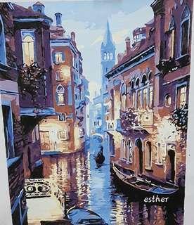 Venice night view Painted Art - unframe