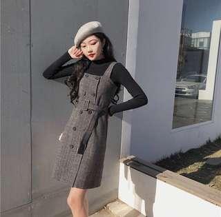 🚚 小格子百搭復古連衣裙(配腰帶)