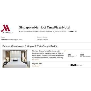 🚚 One Night Weekend Stay (Fri ~ Sun) in Deluxe Room @ Marriott Tang Plaza Hotel