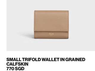Celine wallet light camel trifold purse bag