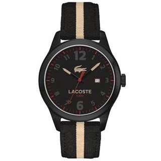 Bnew LACOSTE Auckland Black and Beige Fabric Strap Watch