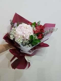 Hydrangea and baby's breath | graduation flowers |fresh flower bouquet
