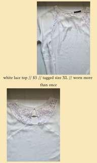 🚚 lace white top✨