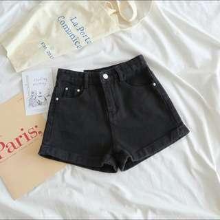 🚚 Black High Waisted Mom Shorts