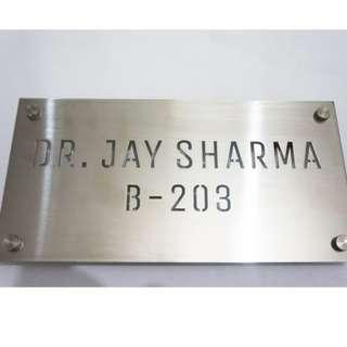 🆒🆕 Laser Cut Brushed Stainless Steel Name Door Plate