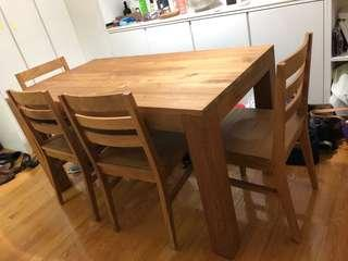 TREE Natural Teak Dining Table and Dining Chairs