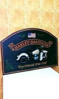 🚚 Vintage Harley Davidson Pub Sign ( Knucklehead 1936 - 1947 ) Hand Painted & Hand Made In USA, total of 4 different design, for Pub or Home Decoration, this item is very rare .