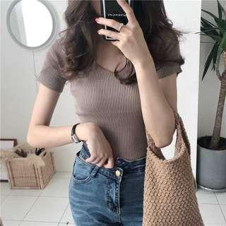 [New] Khaki V Neck Knitted Top