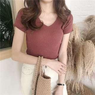[New] Red Bean V Neck Knitted Top