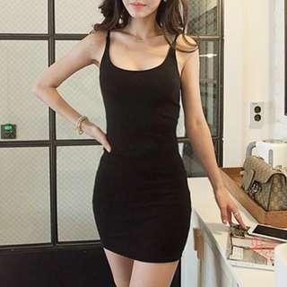 Basic spag dress (Black)