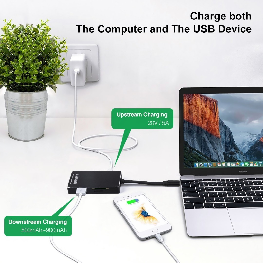 2333 Usb C to Card Reader Adapter ANEWISH 6 in 1 Usb C Hub with SD/Micro SD  Type C Charging HDMI USB Ports Usb C to HDMI Adapter for Your Macbook