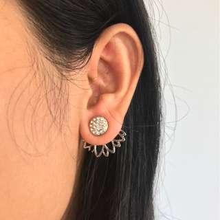 Double-Sided Silver Lotus Stud Earrings