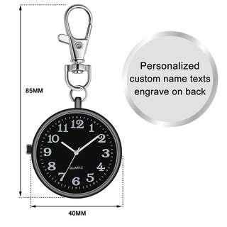 🆒🆕 Personalized FREE Engraved U Name Clip Golf Keychain Lobster Clasp Big Dial Easy Read for Student Exam Elder Person Fob Watch