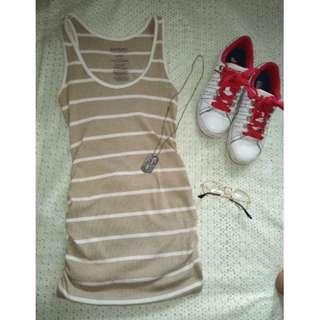 SALE preloved beige small old navy stripes cotton tank top