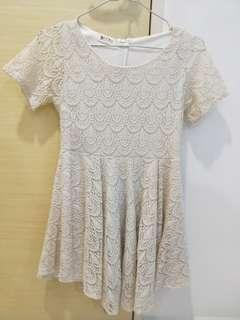 Cream Crochet Babydoll Dress