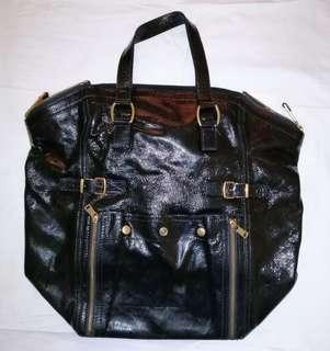 YSL Black Patent Leather Downtown Bag