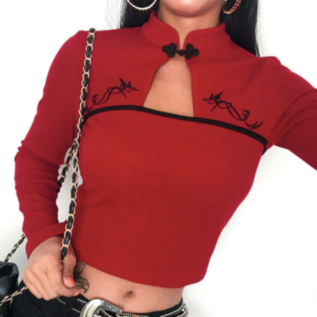 harajuku chinese style long sleeve red and black oriental embroidery high neck