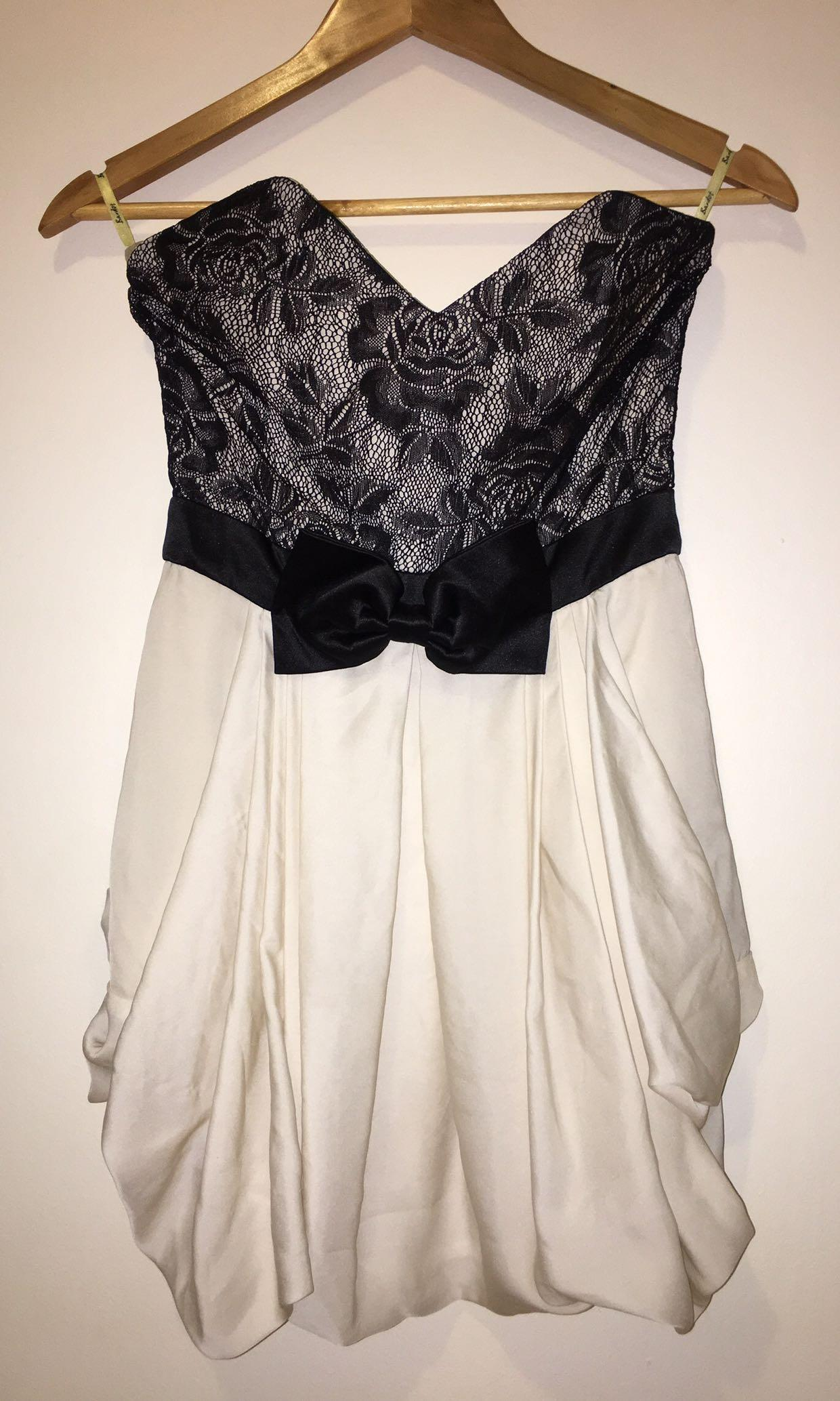 Bardot Dress Black & White Lace Floral Bow Strapless Ruffles