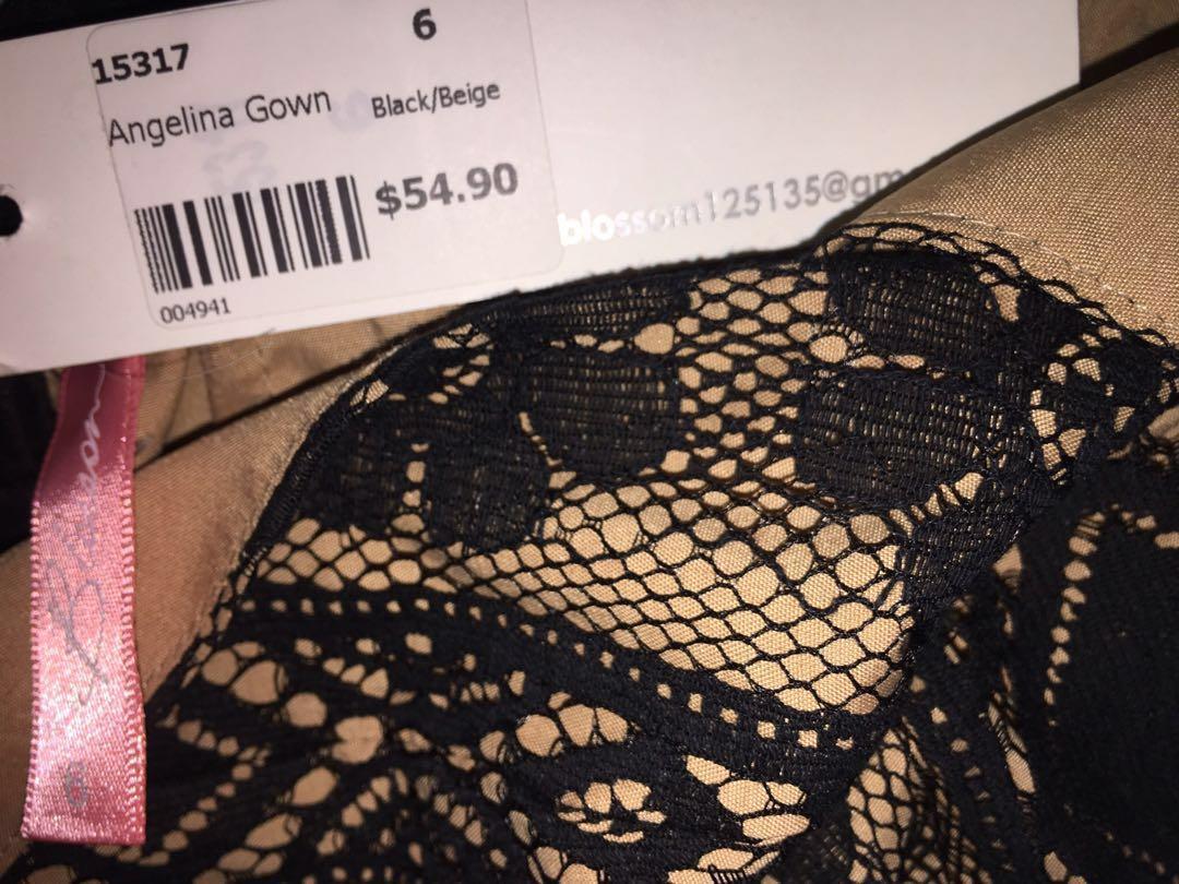 Blossom Gown Dress Black & Beige Flower Lace Netting
