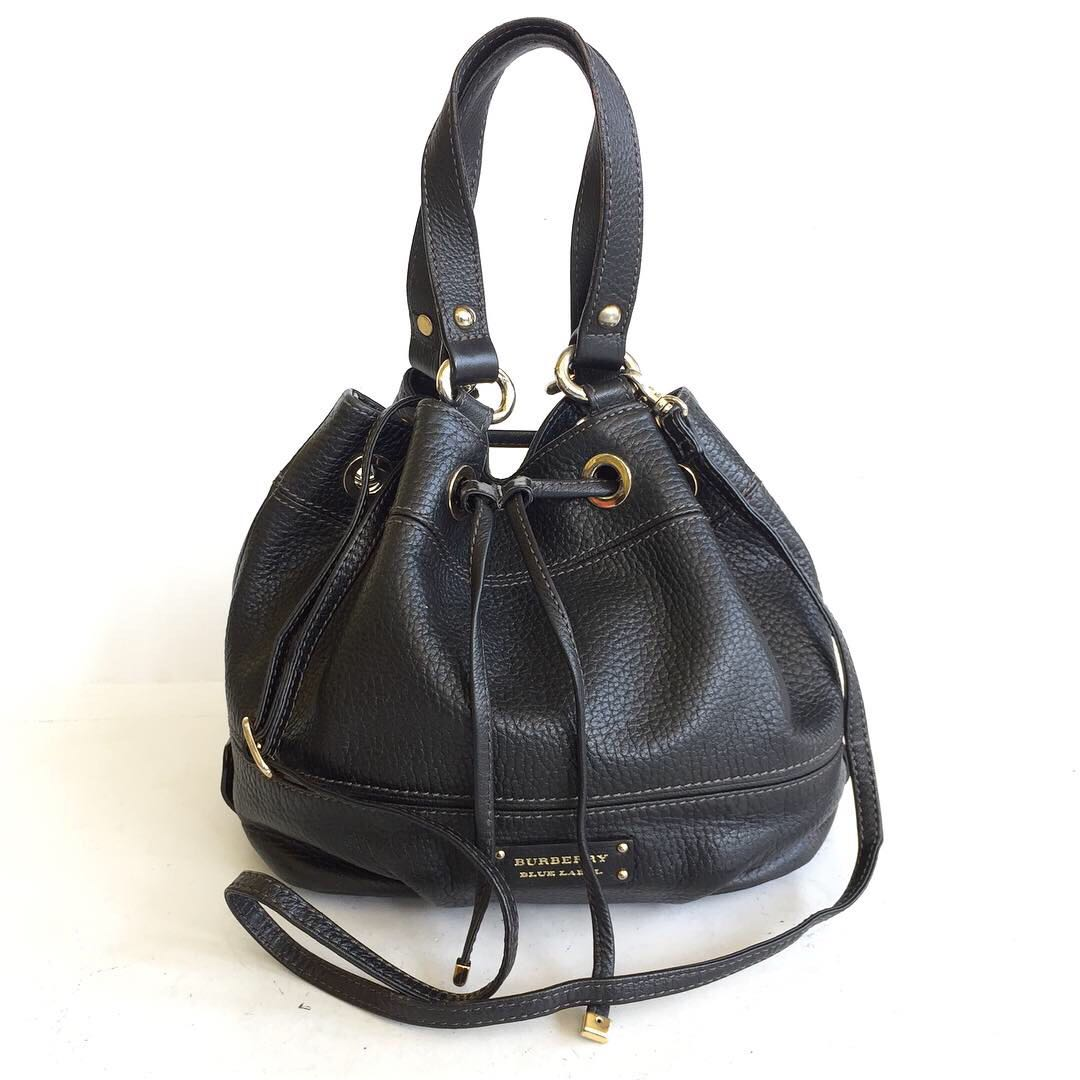 6a6943759f5a burberry blue label leather bucket drawstring bag