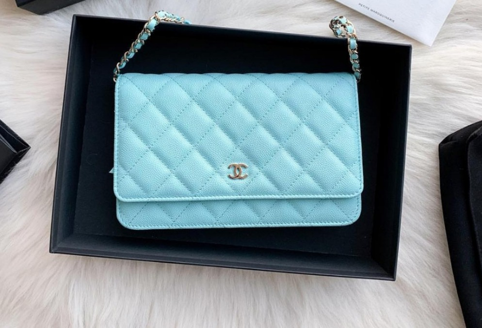 9e6547cfd451 Chanel WOC wallet on chain cruise 19c collection. Tiffany blue ...