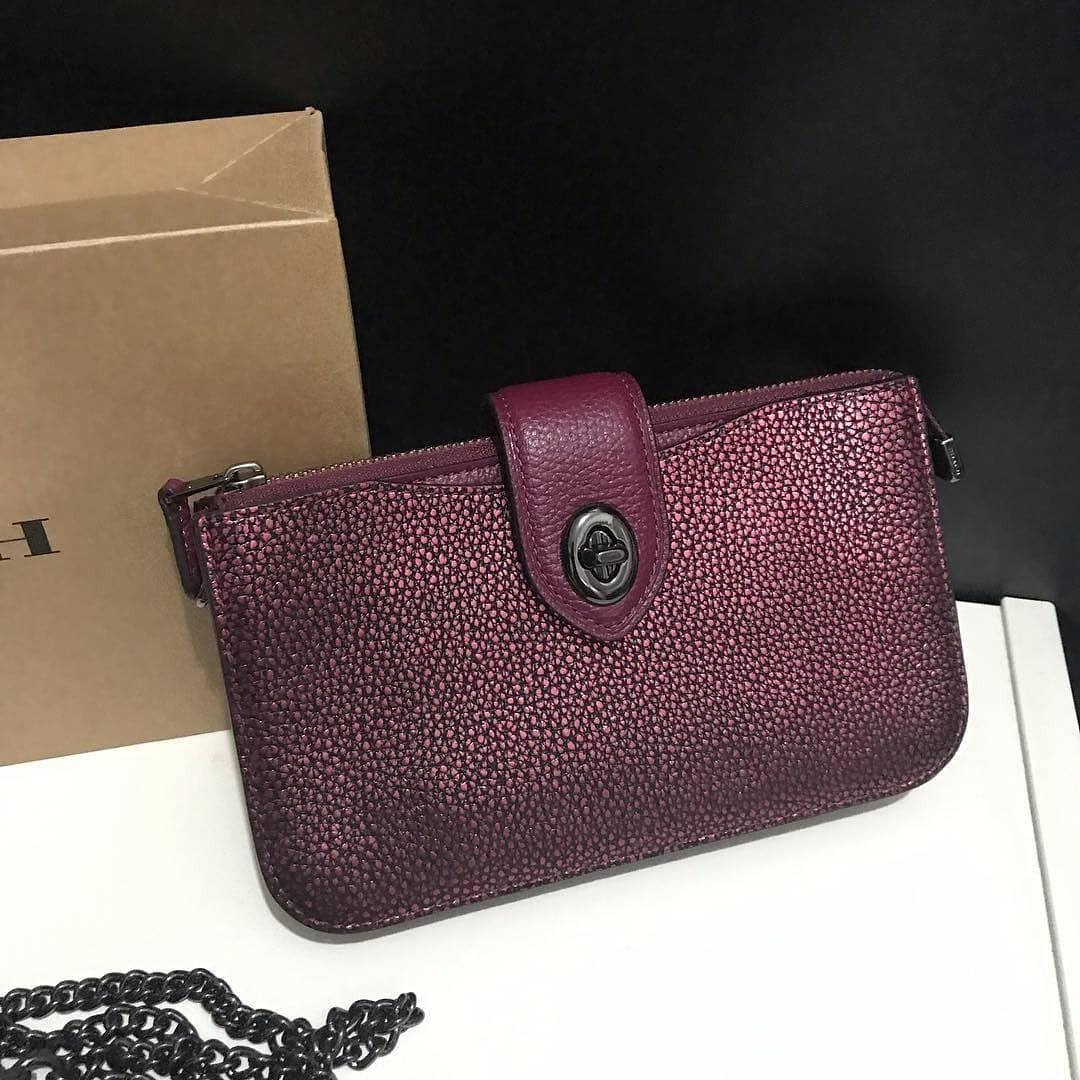 Coach Turn-lock Crossbody in Color block Metallic Berry (with removable long strap, can be worn as wristlet or clutch) size 18x11