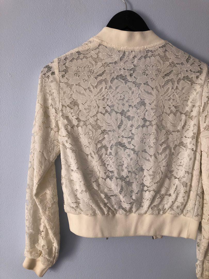 Cue White lace bomber jacket